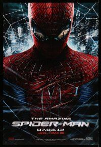 8w031 AMAZING SPIDER-MAN teaser DS 1sh '12 portrait of Andrew Garfield in title role over city!