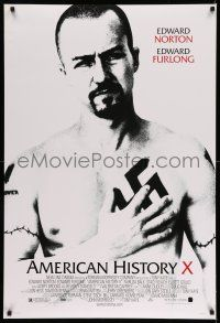 8w037 AMERICAN HISTORY X DS 1sh '98 B&W image of Edward Norton as skinhead neo-Nazi!