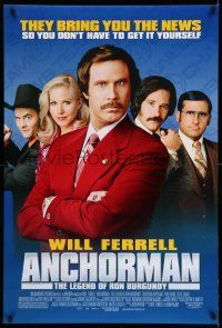 8w038 ANCHORMAN DS 1sh '04 The Legend of Ron Burgundy, image of newscaster Will Ferrell!