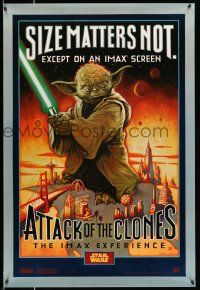 8w046 ATTACK OF THE CLONES style A IMAX DS 1sh '02 Star Wars Episode II, art of Yoda!