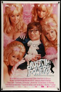 8w047 AUSTIN POWERS: INT'L MAN OF MYSTERY style B DS 1sh '97 spy Mike Myers & sexy fembots!