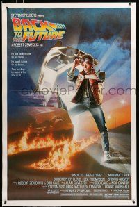 8w053 BACK TO THE FUTURE 1sh '85 Robert Zemeckis, art of Michael J. Fox & Delorean by Drew!