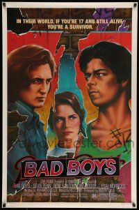 8w055 BAD BOYS 1sh '83 life has pushed Sean Penn into a corner & he's coming out fighting!
