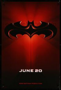 8w058 BATMAN & ROBIN advance DS 1sh '97 Clooney, O'Donnell, cool image of bat symbol!