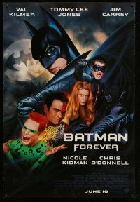 8w059 BATMAN FOREVER advance 1sh '95 Kilmer, Kidman, O'Donnell, Tommy Lee Jones, Carrey, top cast!