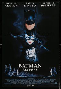 8w060 BATMAN RETURNS white date style advance 1sh '92 Keaton, Danny DeVito, Pfeiffer, Tim Burton!
