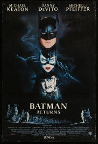 8w061 BATMAN RETURNS white date style int'l advance DS 1sh '92 Burton, Keaton, DeVito, Pfeiffer!