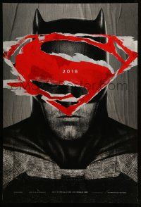 8w002 BATMAN V SUPERMAN teaser DS 1sh '16 cool close up of Ben Affleck in title role under symbol!