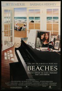 8w063 BEACHES 1sh '88 great image of best friends Bette Midler & Barbara Hershey!