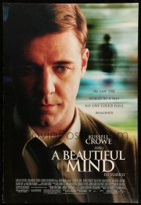8w064 BEAUTIFUL MIND DS 1sh '01 Ron Howard directed, great close up image of Russell Crowe!