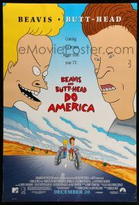 8w066 BEAVIS & BUTT-HEAD DO AMERICA advance DS 1sh '96 Mike Judge MTV juvenile delinquent cartoon!