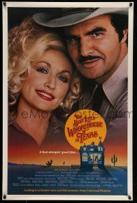 8w068 BEST LITTLE WHOREHOUSE IN TEXAS advance 1sh '82 close-up of Burt Reynolds & Dolly Parton!