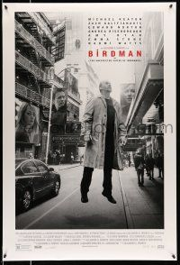 8w078 BIRDMAN photo style DS 1sh '14 Michael Keaton levitating in New York City, Galifianakis!