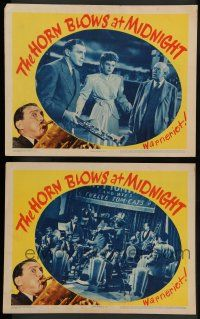 8z940 HORN BLOWS AT MIDNIGHT 2 LCs '45 Jack Benny is an angel playing a trumpet to end the world!
