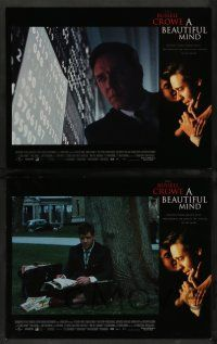 8z080 BEAUTIFUL MIND 8 LCs '01 Ron Howard directed, paranoid-schizophrenic Russell Crowe!