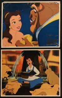 8z638 BEAUTY & THE BEAST 6 LCs '91 Walt Disney cartoon classic, cool images w/ foil title!