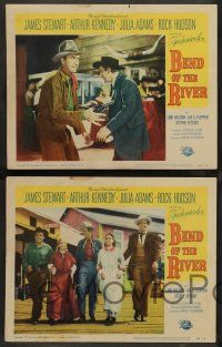 8z769 BEND OF THE RIVER 4 LCs '52 Jimmy Stewart, Arthur Kennedy, directed by Anthony Mann