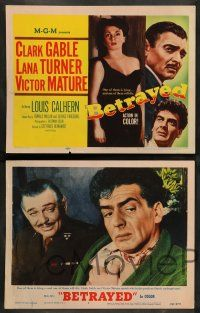 8z085 BETRAYED 8 LCs '54 Clark Gable, Victor Mature, Lana Turner, Louis Calhern, WWII