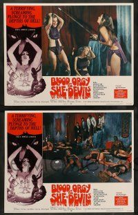 8z093 BLOOD ORGY OF THE SHE DEVILS 8 LCs '72 directed by Ted V. Mikels, wild sexy horror images!