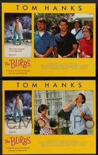 8z112 BURBS 8 LCs '89 images of Tom Hanks, Bruce Dern, Carrie Fisher, in savage land, suburbia!
