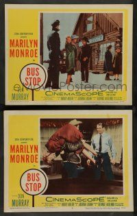 8z898 BUS STOP 2 LCs '56 sexy Marilyn Monroe carried by Don Murray and in front of diner!