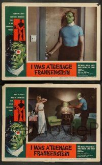 8z602 I WAS A TEENAGE FRANKENSTEIN 7 LCs '57 wonderful border art of monster + holding sexy girl!