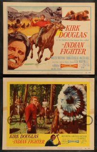 8z247 INDIAN FIGHTER 8 LCs '55 Kirk Douglas, Elsa Martinelli, Lon Chaney Jr. w/back turned in one!