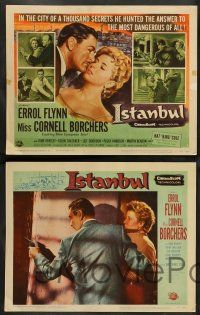 8z253 ISTANBUL 8 LCs '57 great images of Cornell Borchers, Errol Flynn in Turkey, Nat King Cole!