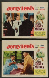 8z942 IT'S ONLY MONEY 2 LCs '62 wacky private eye Jerry Lewis, cool border art!