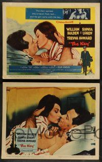 8z273 KEY 8 LCs '58 Carol Reed, cool tc kiss art of William Holden & sexy Sophia Loren!
