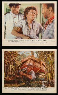9a024 AFRICAN QUEEN 8 color English FOH LCs '53 images of Humphrey Bogart & Katharine Hepburn!