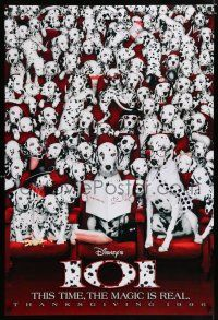 9c035 101 DALMATIANS teaser DS 1sh '96 Walt Disney live action, wacky image of dogs in theater!