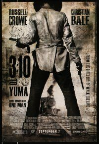 9c037 3:10 TO YUMA advance DS 1sh '07 cowboys Russell Crowe & Christian Bale, cool design!