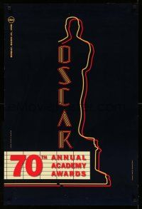 9c042 70TH ANNUAL ACADEMY AWARDS 1sh '98 cool image of the Oscar Award as a neon theater sign!