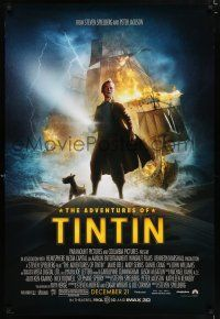 9c051 ADVENTURES OF TINTIN advance DS 1sh '11 Steven Spielberg's version of the Belgian comic!