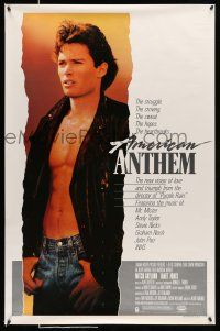 9c062 AMERICAN ANTHEM 1sh '86 huge image of shirtless Mitchell Gaylord!