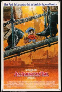9c067 AMERICAN TAIL style A 1sh '86 Steven Spielberg, Don Bluth, art of Fievel the mouse by Struzan