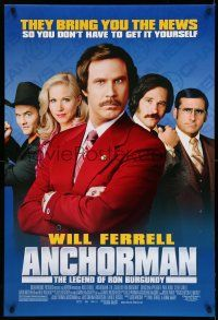 9c069 ANCHORMAN DS 1sh '04 The Legend of Ron Burgundy, image of newscaster Will Ferrell!