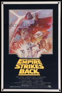 9c013 EMPIRE STRIKES BACK 1sh R81 George Lucas sci-fi classic, cool art by Tom Jung!