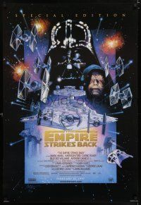 9c016 EMPIRE STRIKES BACK style C advance DS 1sh R97 George Lucas, Mark Hamill, Ford, Tom Jung art!