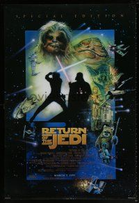 9c024 RETURN OF THE JEDI style D advance 1sh R97 George Lucas classic, great cast montage by Sano!