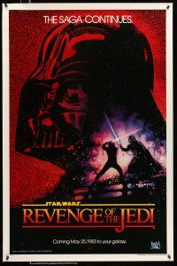 9c017 RETURN OF THE JEDI dated teaser 1sh '83 George Lucas classic, Revenge of the Jedi, Drew art!