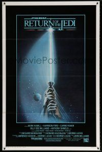 9c020 RETURN OF THE JEDI int'l 1sh '83 George Lucas, art of hands holding lightsaber by Tim Reamer!