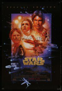 9c010 STAR WARS style B advance 1sh R97 George Lucas classic sci-fi epic, art by Tom Jung!