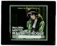 9d043 BEAUTY & THE ROGUE glass slide '18 great c/u of pretty pensive Mary Miles Minter!