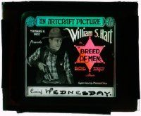 9d051 BREED OF MEN glass slide '19 William S. Hart gets cheated at gambling and becomes sheriff!