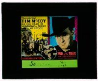 9d061 END OF THE TRAIL glass slide '32 thundering Tim McCoy on the trail of vengeance & justice!