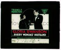 9d062 EVERYWOMAN'S HUSBAND glass slide '18 Gloria Swanson wins back her husband from his mistress!