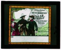 9d064 FALSE TRAILS glass slide '24 western action comedy drama of a vendetta which love vanquished
