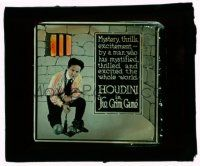 9d071 GRIM GAME glass slide '19 Harry Houdini in prison, he mystified & excited the whole world!
